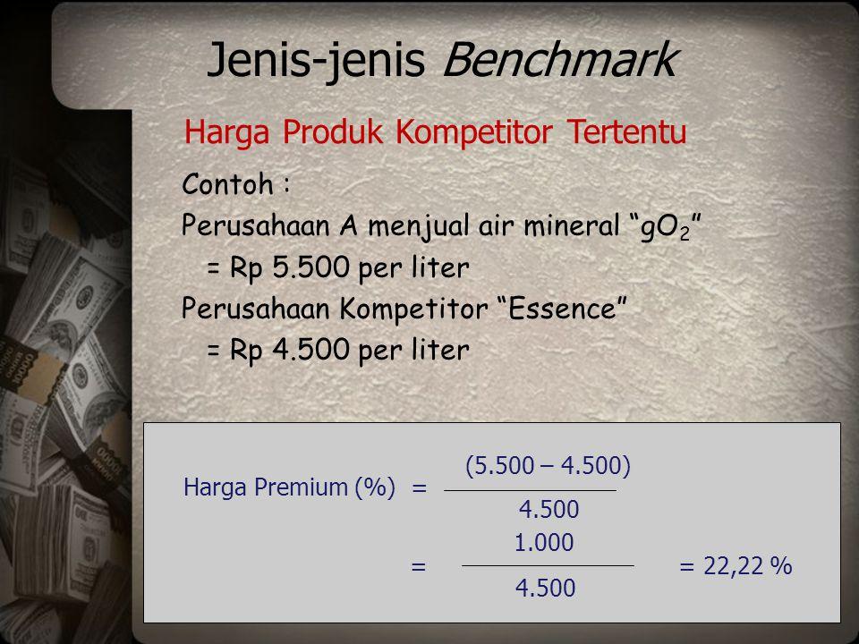 Jenis-jenis Benchmark Contoh : Perusahaan A menjual air mineral gO 2 = Rp 5.500 /liter, terjual 20 % pangsa pasar Panache = Rp 5.000 /liter, terjual 10% Essence = Rp 4.500 /liter, terjual 20% Besik = Rp 4.000 /liter, terjual 50% Harga Rata-rata yang Dibayar Rata-rata harga dibayar = (20% x 5.500) + (10 % x 5.000) + (20 % x 4.500) + (50% x 4.000) = Rp 4.500 (5.500 – 4.500) 4.500 Harga Premium (%) = = 1.000 4.500 = 22,22 %