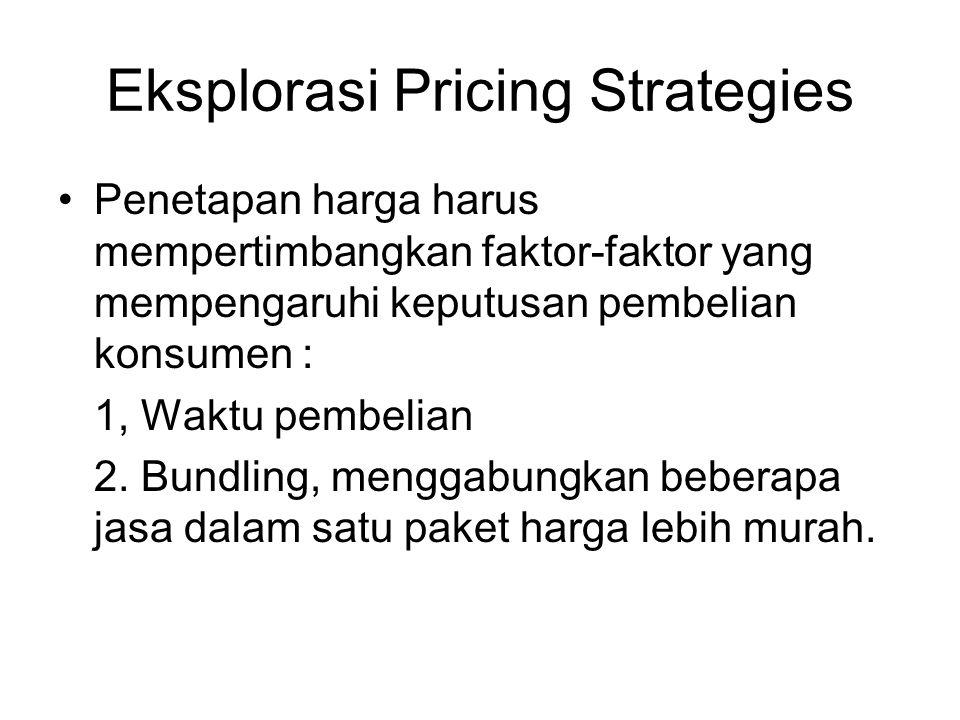 Eksplorasi Pricing Strategies Penetapan harga harus mempertimbangkan faktor-faktor yang mempengaruhi keputusan pembelian konsumen : 1, Waktu pembelian