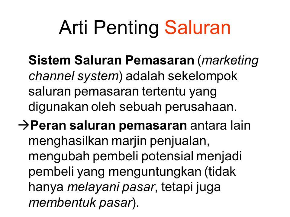 Arti Penting Saluran Sistem Saluran Pemasaran (marketing channel system) adalah sekelompok saluran pemasaran tertentu yang digunakan oleh sebuah perus