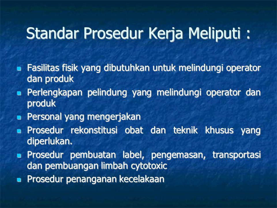 Standar Prosedur Kerja Meliputi : Fasilitas fisik yang dibutuhkan untuk melindungi operator dan produk Fasilitas fisik yang dibutuhkan untuk melindung
