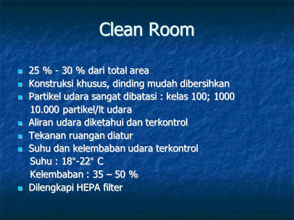 Clean Room 25 % - 30 % dari total area 25 % - 30 % dari total area Konstruksi khusus, dinding mudah dibersihkan Konstruksi khusus, dinding mudah diber