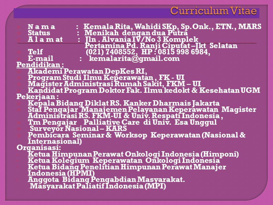 """Kemala Rita Wahidi, SKp, Sp.Onk., ETN., MARS Disampaikan pada Seminar Sehari """" Peran Tenaga Kesehatan Dalam Penanganan Kemoterapi Terkini"""" AKPER HANG"""