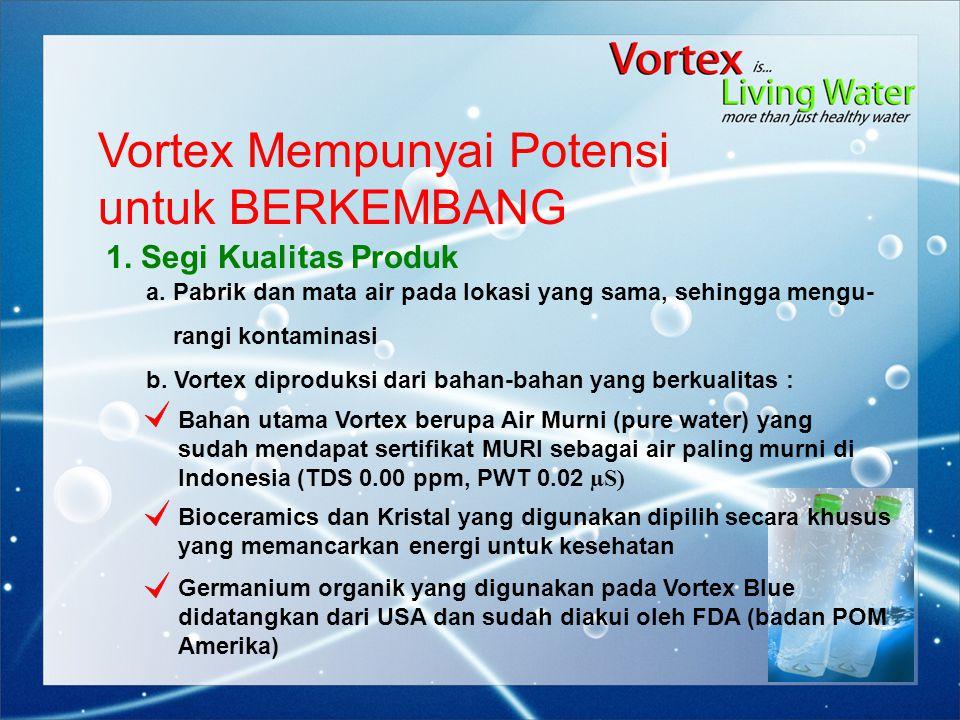 Vortex Mempunyai Potensi untuk BERKEMBANG 1. Segi Kualitas Produk b. Vortex diproduksi dari bahan-bahan yang berkualitas : Bahan utama Vortex berupa A