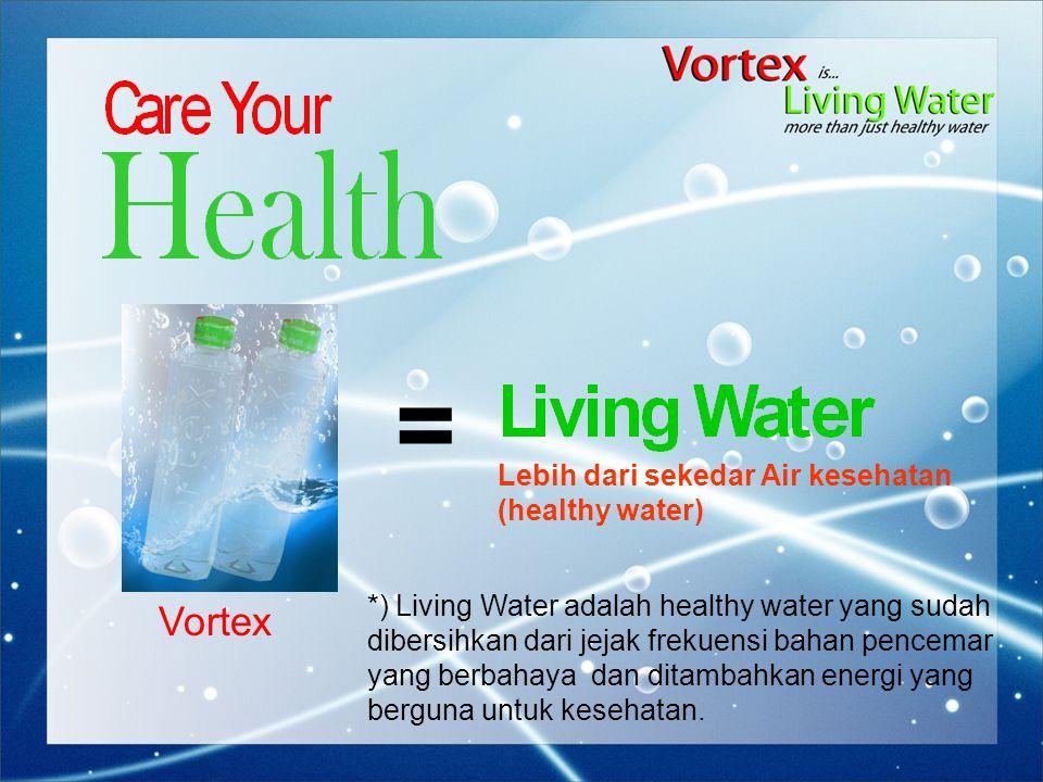 = Vortex *) Living Water adalah healthy water yang sudah dibersihkan dari jejak frekuensi bahan pencemar yang berbahaya dan ditambahkan energi yang berguna untuk kesehatan.