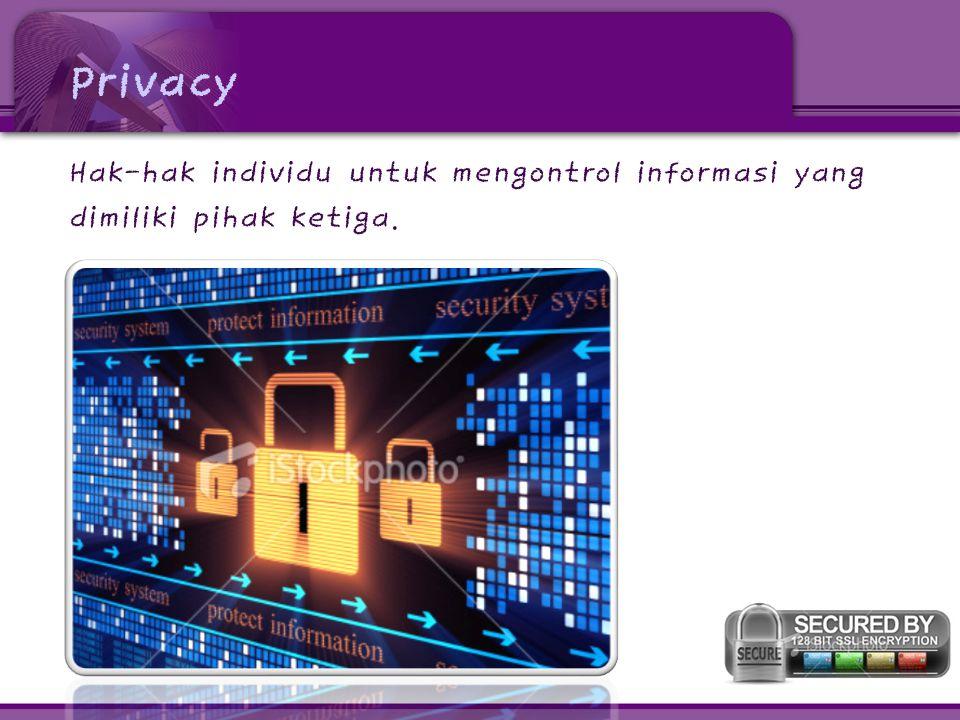 Privacy Hak-hak individu untuk mengontrol informasi yang dimiliki pihak ketiga.