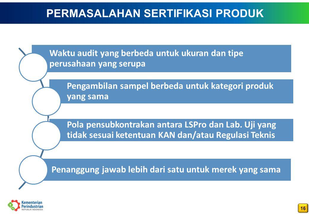 16 PERMASALAHAN SERTIFIKASI PRODUK Waktu audit yang berbeda untuk ukuran dan tipe perusahaan yang serupa Pengambilan sampel berbeda untuk kategori produk yang sama Pola pensubkontrakan antara LSPro dan Lab.