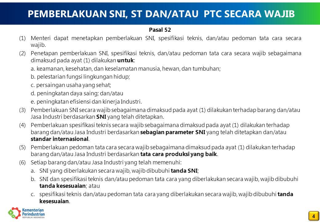 4 4 PEMBERLAKUAN SNI, ST DAN/ATAU PTC SECARA WAJIB Pasal 52 (1)Menteri dapat menetapkan pemberlakuan SNI, spesifikasi teknis, dan/atau pedoman tata cara secara wajib.