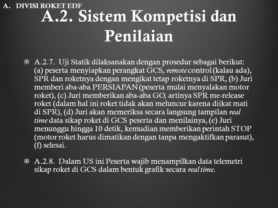 A.2. Sistem Kompetisi dan Penilaian A.2.7. Uji Statik dilaksanakan dengan prosedur sebagai berikut: (a) peserta menyiapkan perangkat GCS, remote contr