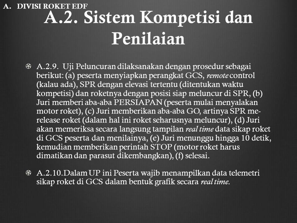 A.2. Sistem Kompetisi dan Penilaian A.2.9. Uji Peluncuran dilaksanakan dengan prosedur sebagai berikut: (a) peserta menyiapkan perangkat GCS, remote c