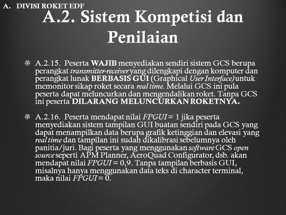 A.2. Sistem Kompetisi dan Penilaian A.2.15. Peserta WAJIB menyediakan sendiri sistem GCS berupa perangkat transmitter-receiver yang dilengkapi dengan