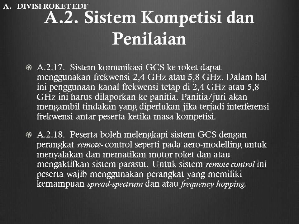 A.2. Sistem Kompetisi dan Penilaian A.2.17. Sistem komunikasi GCS ke roket dapat menggunakan frekwensi 2,4 GHz atau 5,8 GHz. Dalam hal ini penggunaan