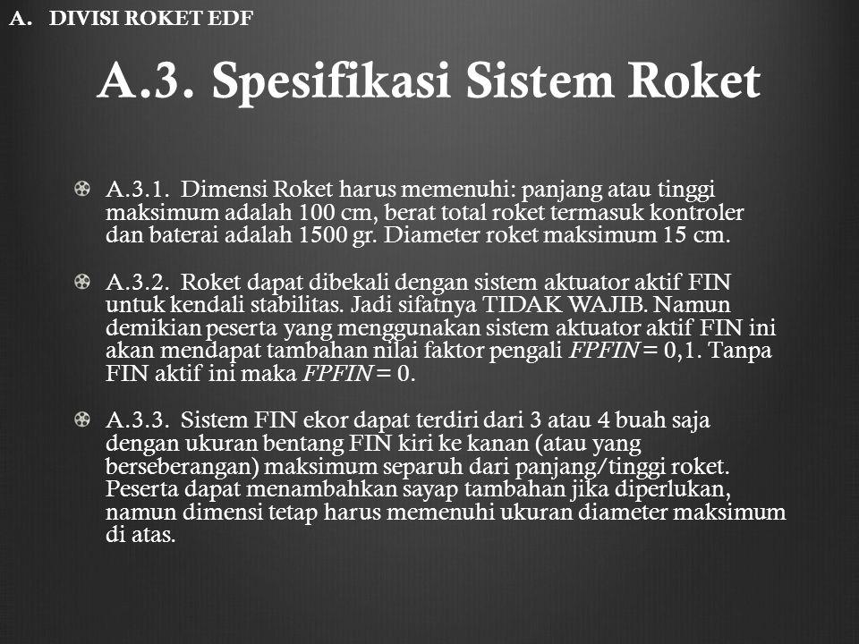 A.3. Spesifikasi Sistem Roket A.3.1. Dimensi Roket harus memenuhi: panjang atau tinggi maksimum adalah 100 cm, berat total roket termasuk kontroler da