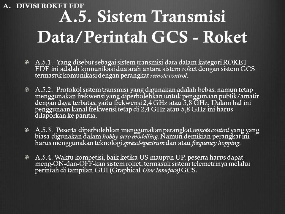 A.5. Sistem Transmisi Data/Perintah GCS - Roket A.5.1. Yang disebut sebagai sistem transmisi data dalam kategori ROKET EDF ini adalah komunikasi dua a