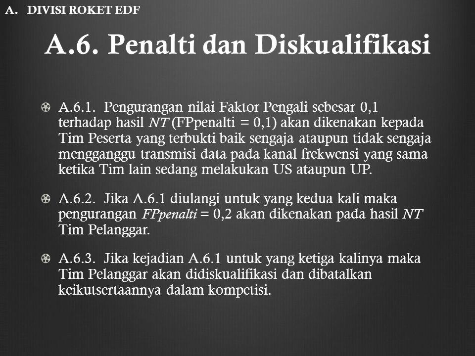 A.6. Penalti dan Diskualifikasi A.6.1. Pengurangan nilai Faktor Pengali sebesar 0,1 terhadap hasil NT (FPpenalti = 0,1) akan dikenakan kepada Tim Pese