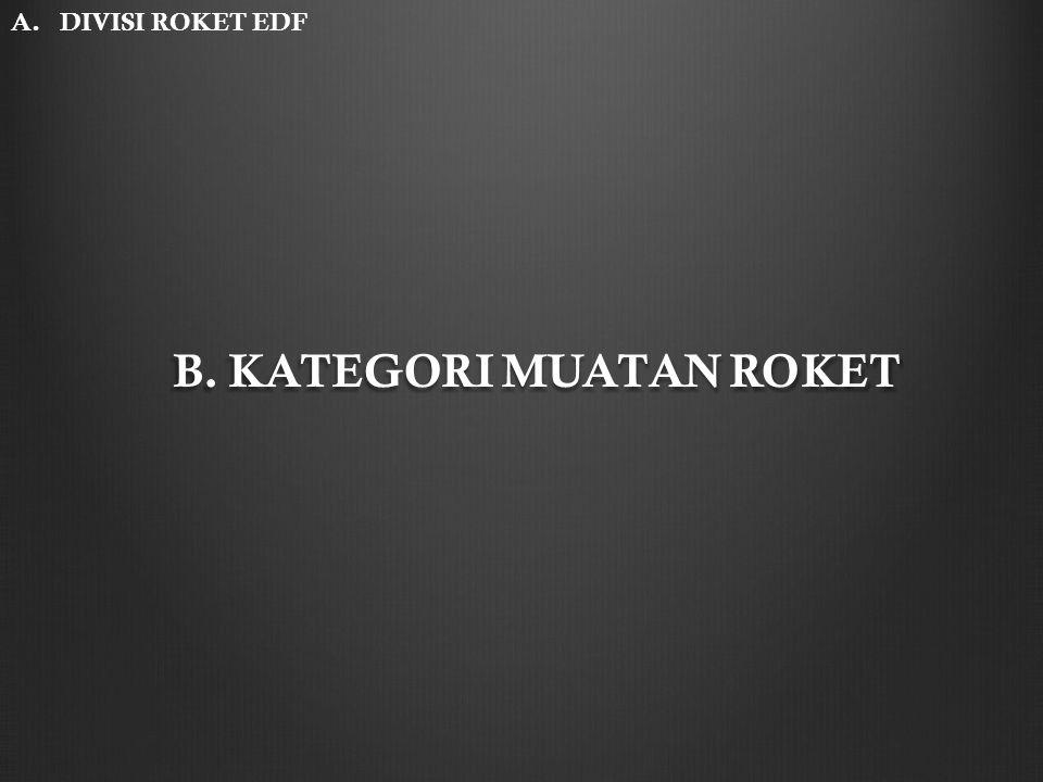 B. KATEGORI MUATAN ROKET A. DIVISI ROKET EDF