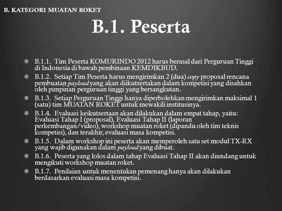B.1. Peserta B.1.1. Tim Peserta KOMURINDO 2012 harus berasal dari Perguruan Tinggi di Indonesia di bawah pembinaan KEMDIKBUD. B.1.2. Setiap Tim Pesert