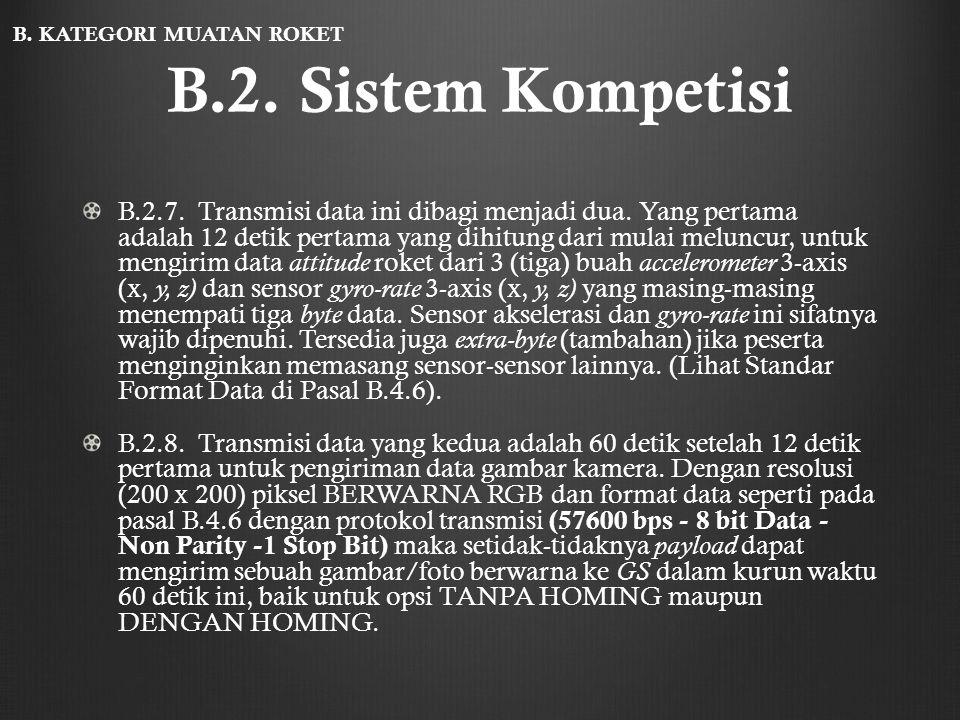B.2. Sistem Kompetisi B.2.7. Transmisi data ini dibagi menjadi dua. Yang pertama adalah 12 detik pertama yang dihitung dari mulai meluncur, untuk meng