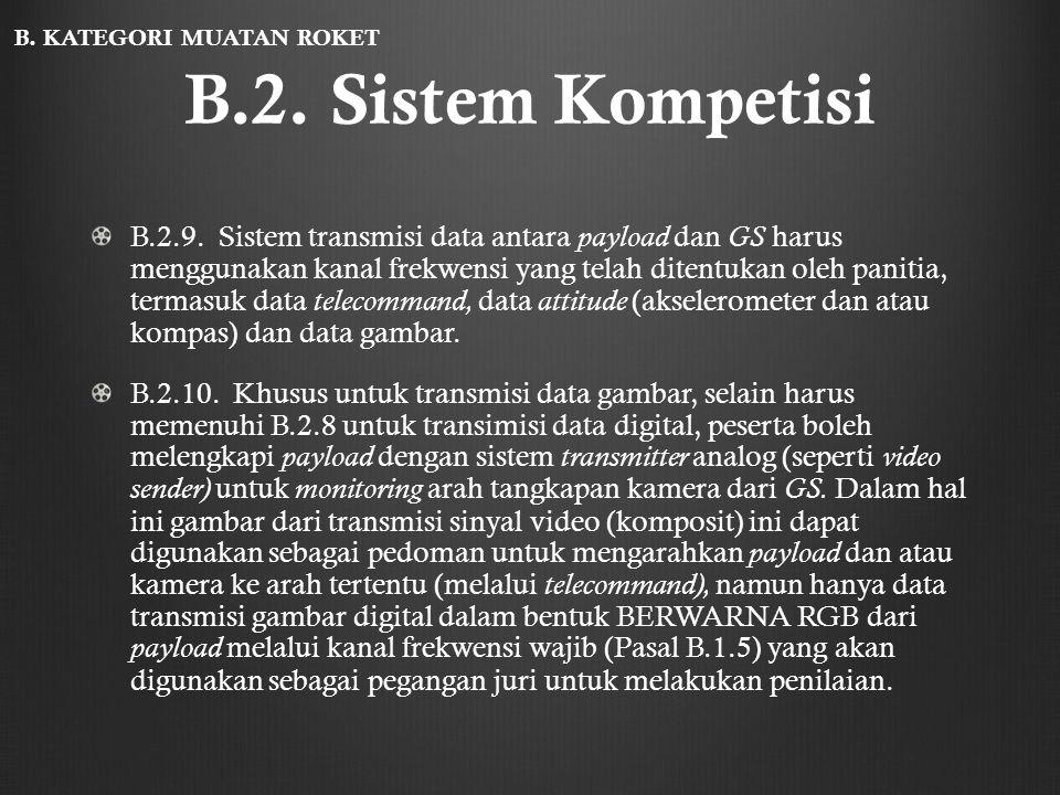 B.2. Sistem Kompetisi B.2.9. Sistem transmisi data antara payload dan GS harus menggunakan kanal frekwensi yang telah ditentukan oleh panitia, termasu