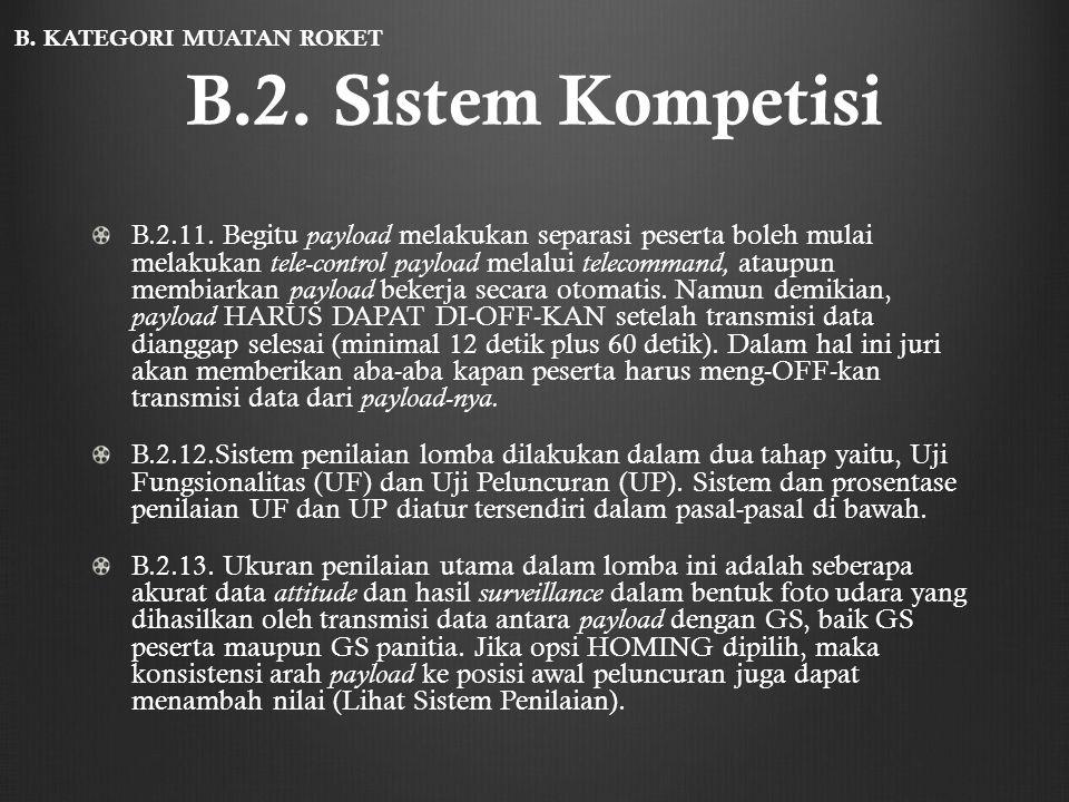B.2. Sistem Kompetisi B.2.11. Begitu payload melakukan separasi peserta boleh mulai melakukan tele-control payload melalui telecommand, ataupun membia