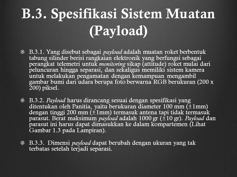 B.3. Spesifikasi Sistem Muatan (Payload) B.3.1. Yang disebut sebagai payload adalah muatan roket berbentuk tabung silinder berisi rangkaian elektronik