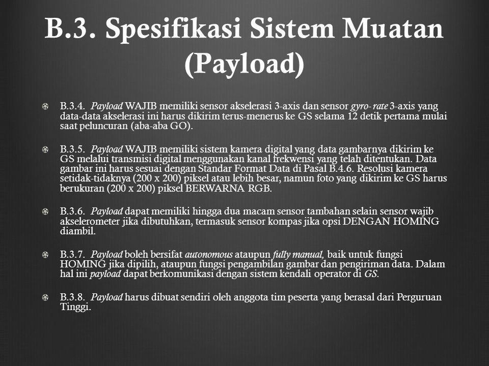 B.3. Spesifikasi Sistem Muatan (Payload) B.3.4. Payload WAJIB memiliki sensor akselerasi 3-axis dan sensor gyro- rate 3-axis yang data-data akselerasi