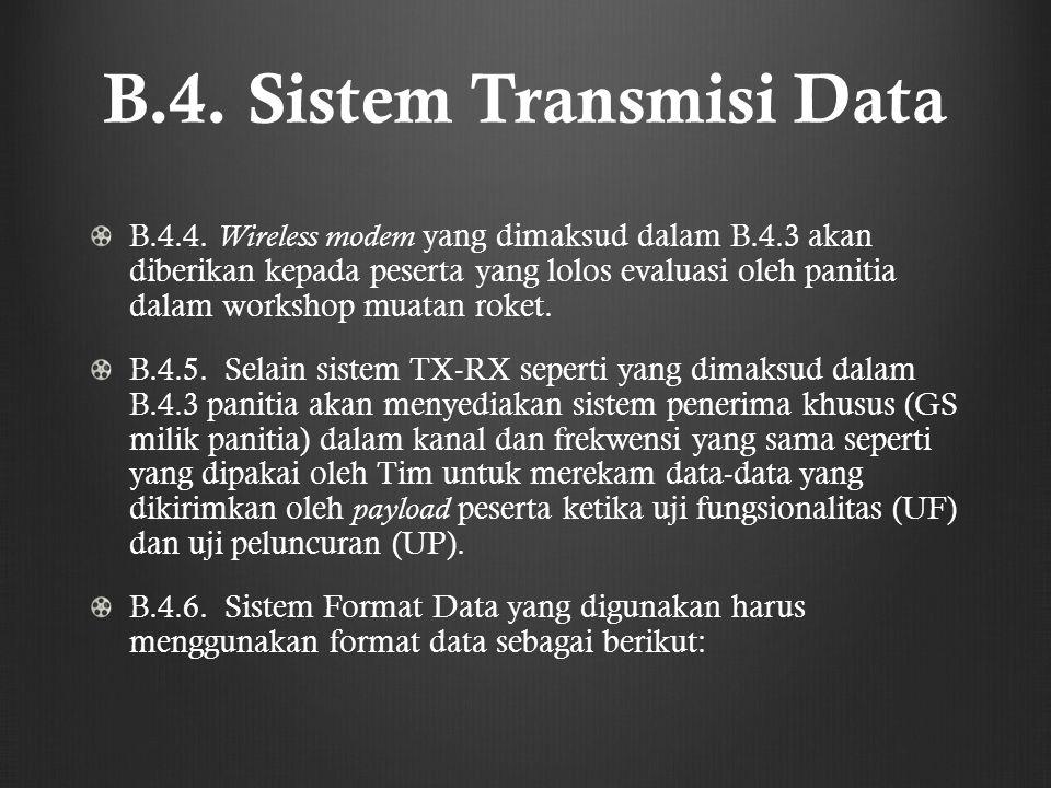 B.4. Sistem Transmisi Data B.4.4. Wireless modem yang dimaksud dalam B.4.3 akan diberikan kepada peserta yang lolos evaluasi oleh panitia dalam worksh