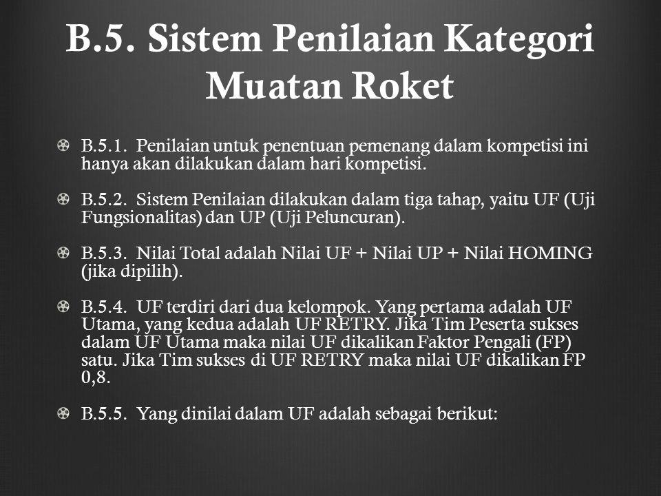 B.5. Sistem Penilaian Kategori Muatan Roket B.5.1. Penilaian untuk penentuan pemenang dalam kompetisi ini hanya akan dilakukan dalam hari kompetisi. B