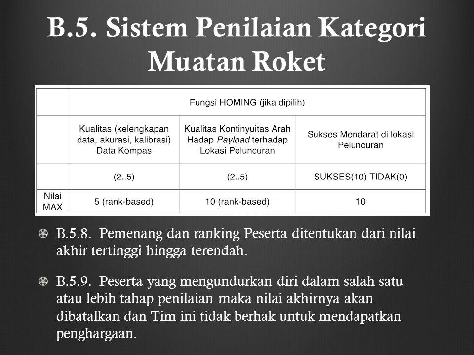 B.5. Sistem Penilaian Kategori Muatan Roket B.5.8. Pemenang dan ranking Peserta ditentukan dari nilai akhir tertinggi hingga terendah. B.5.9. Peserta