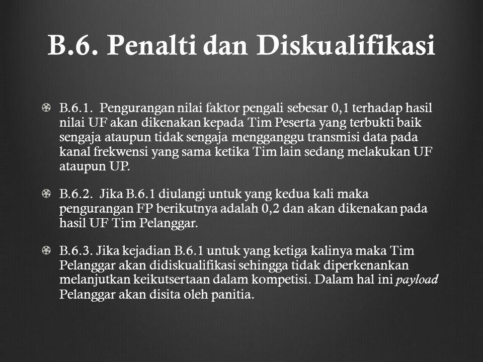 B.6. Penalti dan Diskualifikasi B.6.1. Pengurangan nilai faktor pengali sebesar 0,1 terhadap hasil nilai UF akan dikenakan kepada Tim Peserta yang ter
