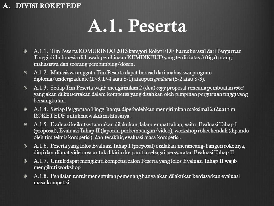 A.1. Peserta A.1.1. Tim Peserta KOMURINDO 2013 kategori Roket EDF harus berasal dari Perguruan Tinggi di Indonesia di bawah pembinaan KEMDIKBUD yang t