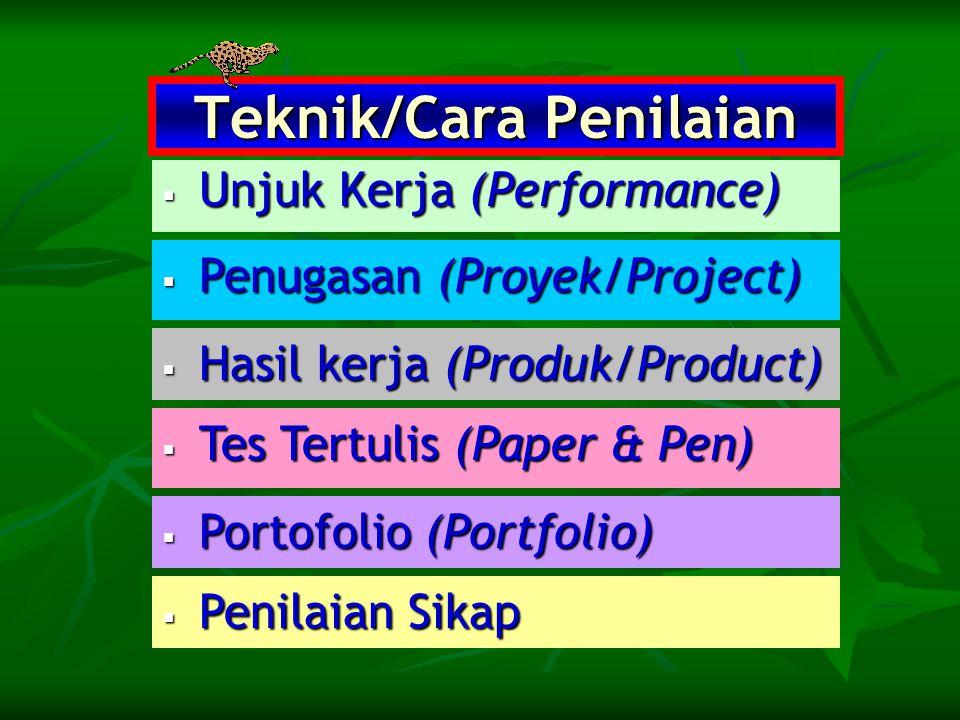 Teknik/Cara Penilaian  Unjuk Kerja (Performance)  Penugasan (Proyek/Project)  Hasil kerja (Produk/Product)  Tes Tertulis (Paper & Pen)  Portofolio (Portfolio)  Penilaian Sikap