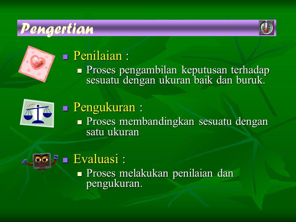 Pengertian Penilaian : Penilaian : Proses pengambilan keputusan terhadap sesuatu dengan ukuran baik dan buruk.