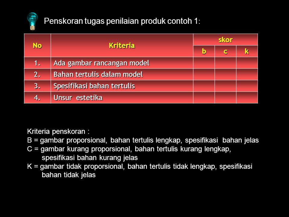 Penskoran tugas penilaian produk contoh 1 : NoKriteria skor bck 1.