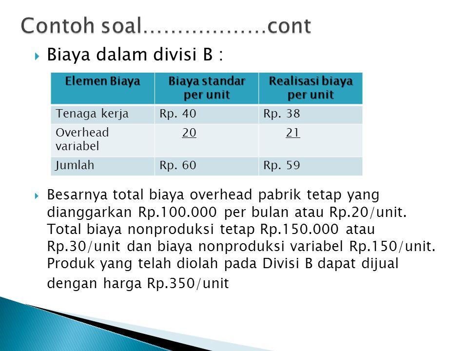  Biaya dalam divisi B :  Besarnya total biaya overhead pabrik tetap yang dianggarkan Rp.100.000 per bulan atau Rp.20/unit. Total biaya nonproduksi t