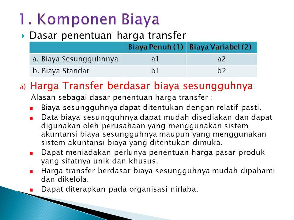  Dasar penentuan harga transfer a) Harga Transfer berdasar biaya sesungguhnya Alasan sebagai dasar penentuan harga transfer : Biaya sesungguhnya dapa