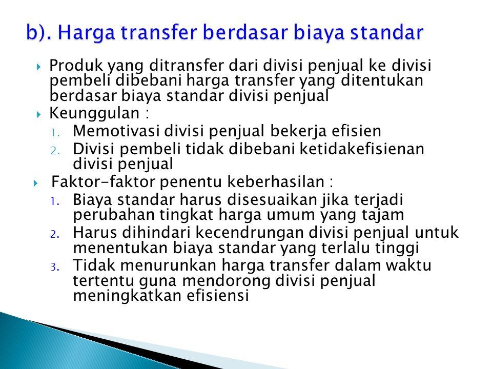 Produk yang ditransfer dari divisi penjual ke divisi pembeli dibebani harga transfer yang ditentukan berdasar biaya standar divisi penjual  Keunggu