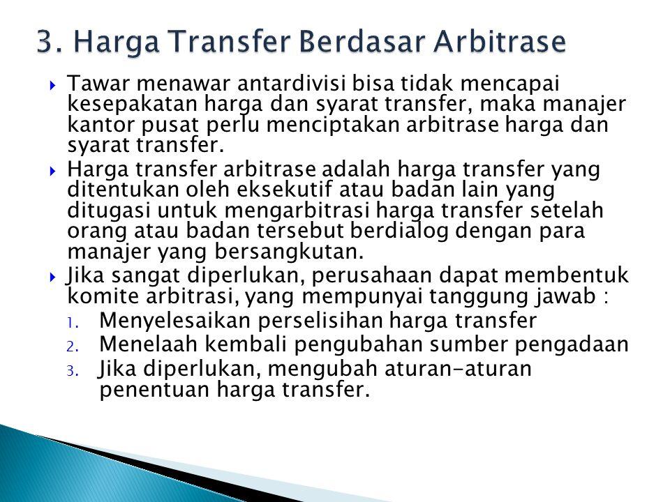  Tawar menawar antardivisi bisa tidak mencapai kesepakatan harga dan syarat transfer, maka manajer kantor pusat perlu menciptakan arbitrase harga dan