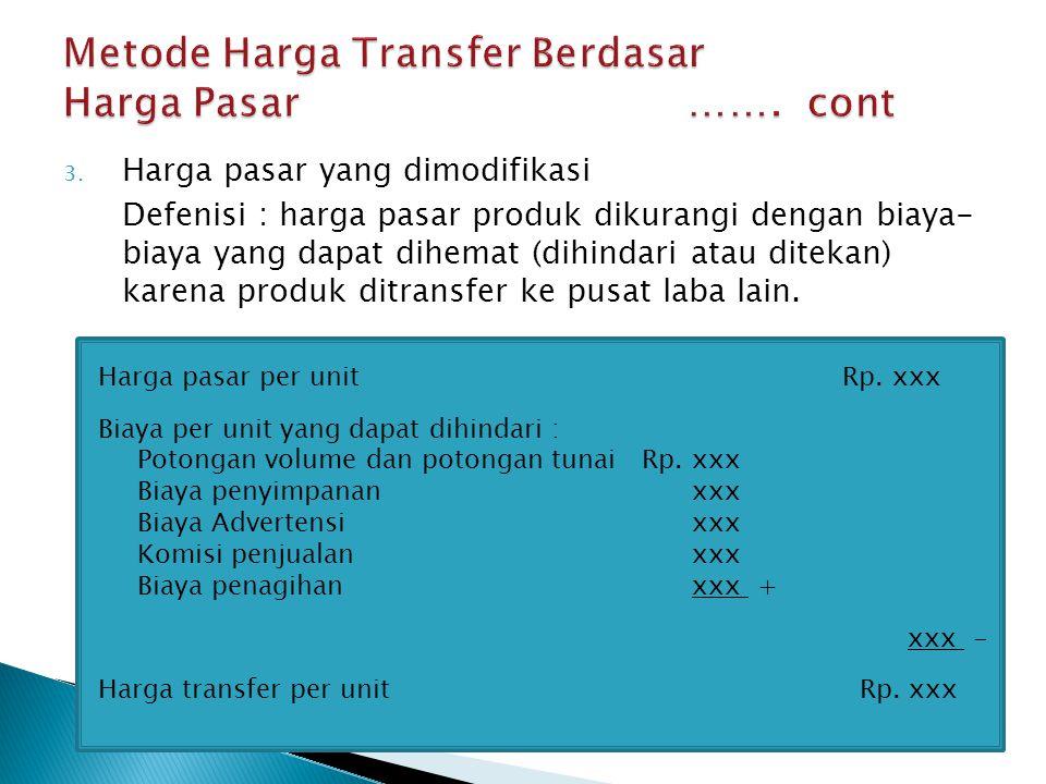 3. Harga pasar yang dimodifikasi Defenisi : harga pasar produk dikurangi dengan biaya- biaya yang dapat dihemat (dihindari atau ditekan) karena produk