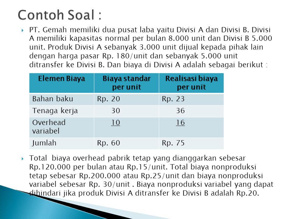  Biaya dalam divisi B :  Besarnya total biaya overhead pabrik tetap yang dianggarkan Rp.100.000 per bulan atau Rp.20/unit.