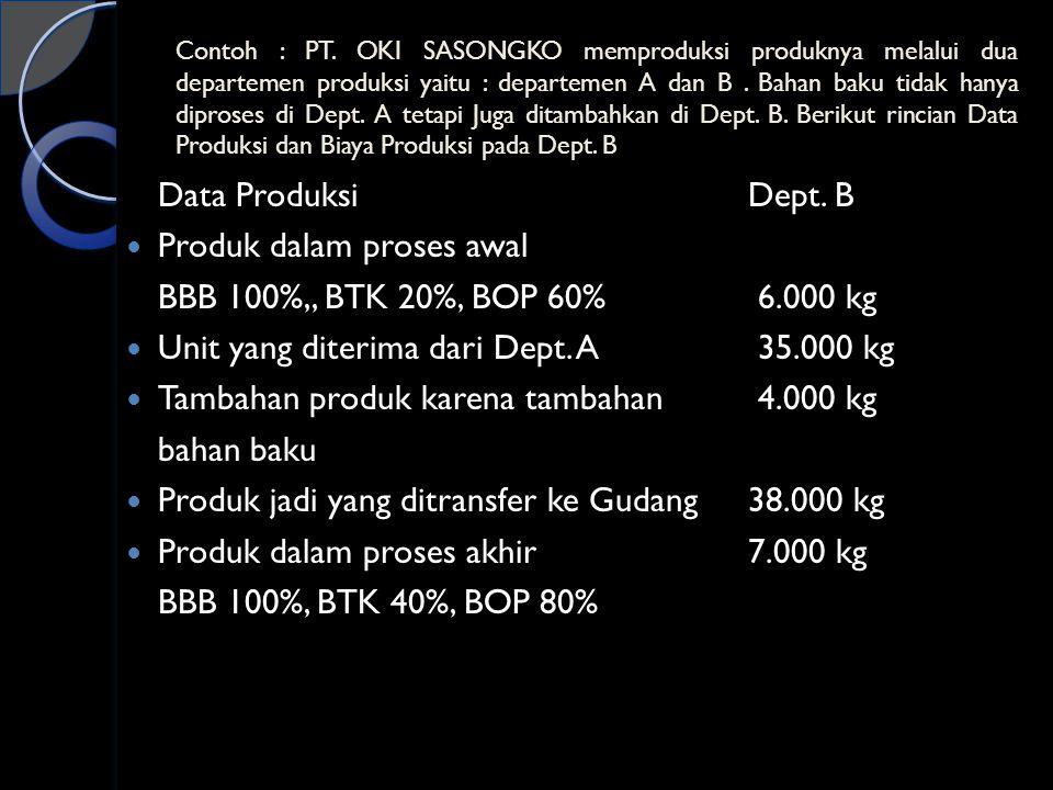 Contoh : PT. OKI SASONGKO memproduksi produknya melalui dua departemen produksi yaitu : departemen A dan B. Bahan baku tidak hanya diproses di Dept. A
