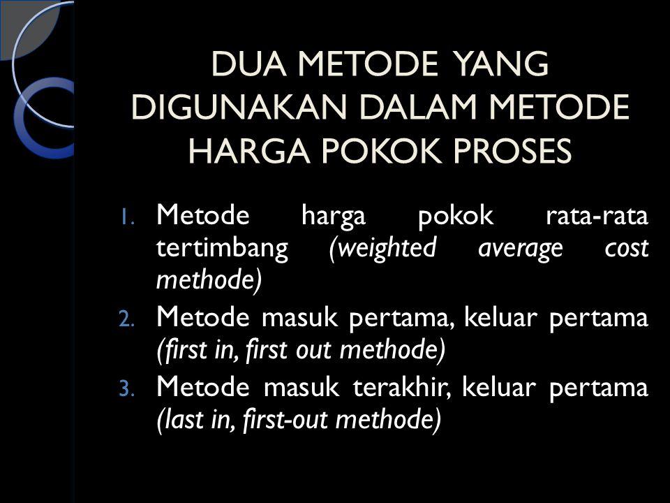 DUA METODE YANG DIGUNAKAN DALAM METODE HARGA POKOK PROSES 1. Metode harga pokok rata-rata tertimbang (weighted average cost methode) 2. Metode masuk p