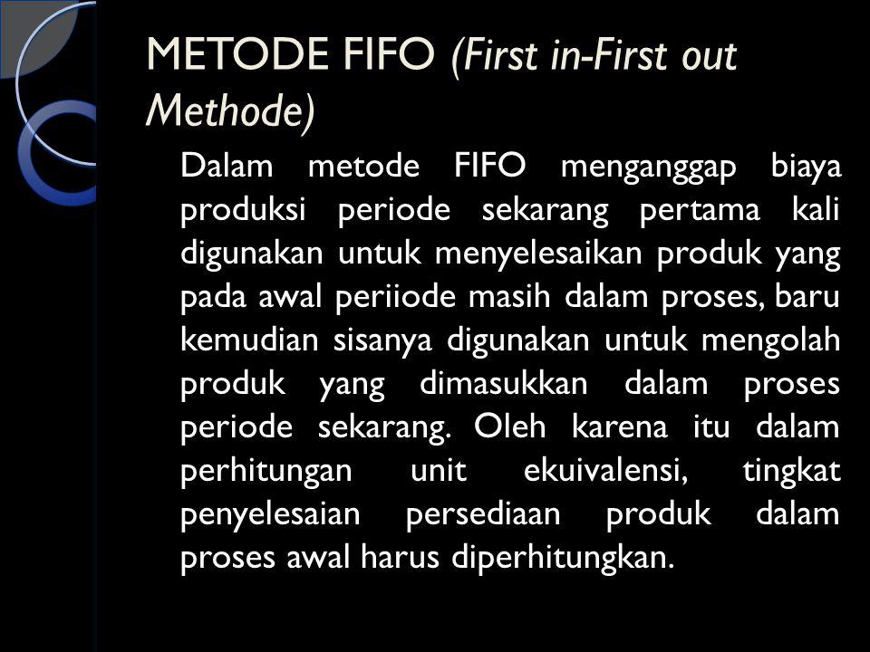 METODE FIFO (First in-First out Methode) Dalam metode FIFO menganggap biaya produksi periode sekarang pertama kali digunakan untuk menyelesaikan produ