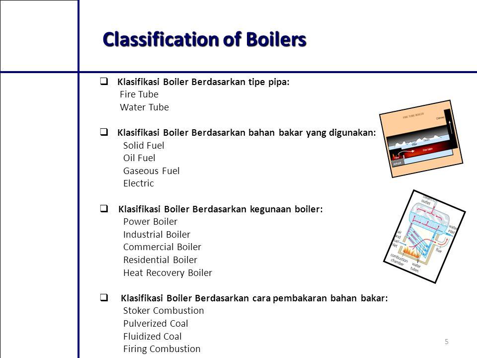 5 Classification of Boilers  Klasifikasi Boiler Berdasarkan tipe pipa: Fire Tube Water Tube  Klasifikasi Boiler Berdasarkan bahan bakar yang digunak