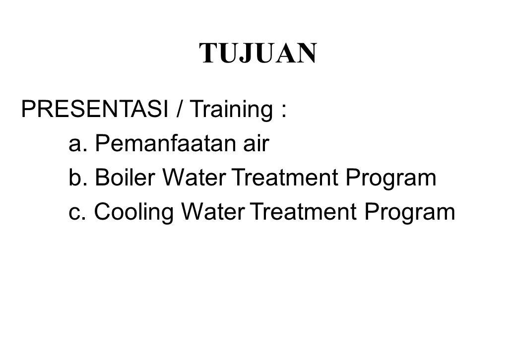 TUJUAN PRESENTASI / Training : a.Pemanfaatan air b.