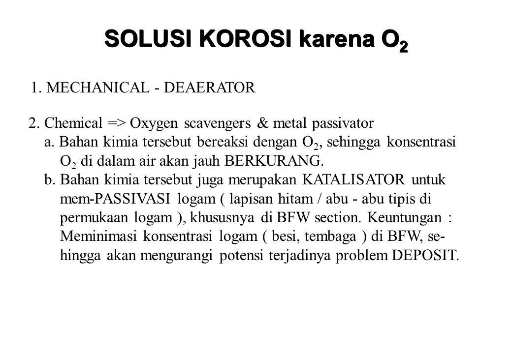 KERAK (SCALE) SOLUSI : 1.Kontrol kualitas SOFTENED WATER yang BAGUS 2.