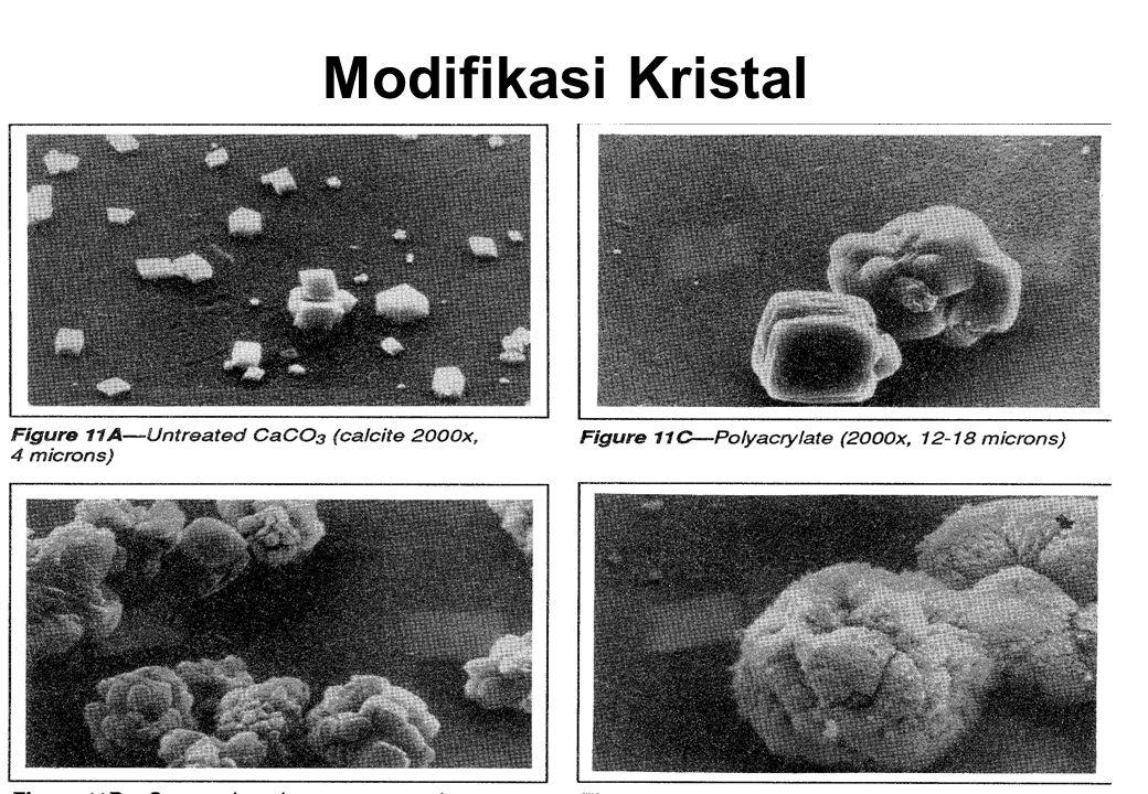 Modifikasi Kristal –Phosphonates Sequestration –Poly-phosphates, EDTA Peng-kondisian Kerak –Acrylate polymers, lignins, tannins Dispersi –Anionic polymers Cara Kerja Bahan Kimia Pencegah Kerak