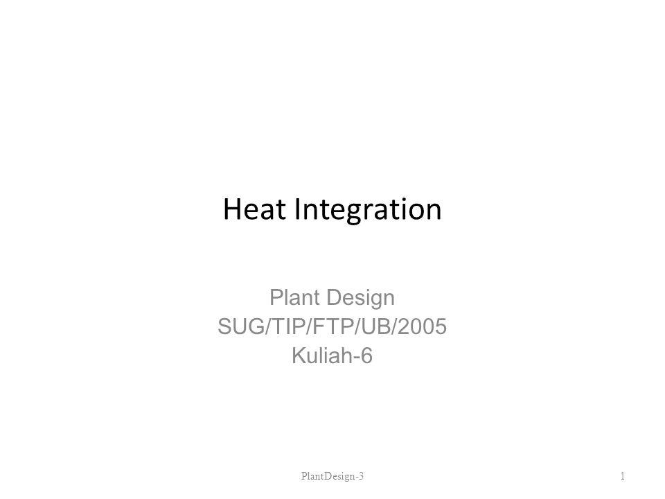 Heat Integration Plant Design SUG/TIP/FTP/UB/2005 Kuliah-6 PlantDesign-31