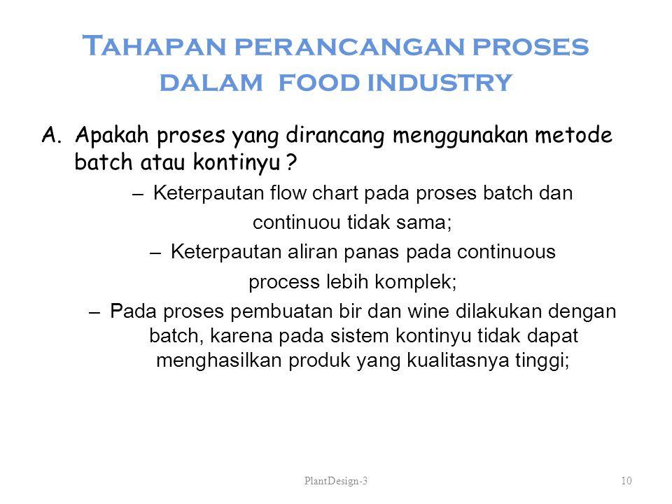 Tahapan perancangan proses dalam food industry A.Apakah proses yang dirancang menggunakan metode batch atau kontinyu ? –Keterpautan flow chart pada pr