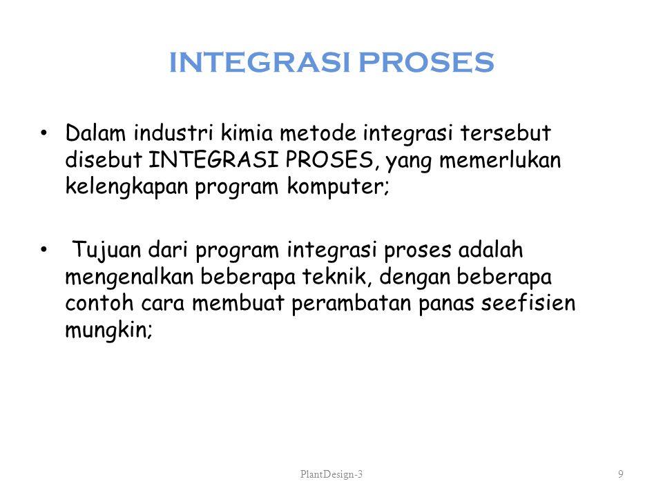 INTEGRASI PROSES Dalam industri kimia metode integrasi tersebut disebut INTEGRASI PROSES, yang memerlukan kelengkapan program komputer; Tujuan dari pr