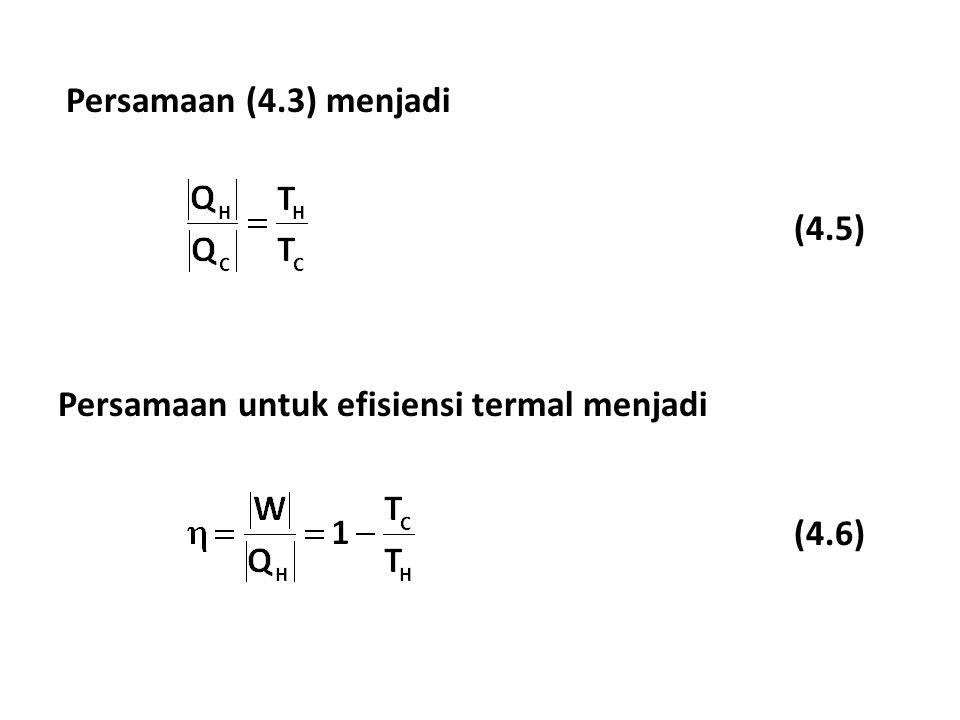 Persamaan (4.3) menjadi Persamaan untuk efisiensi termal menjadi (4.5) (4.6)